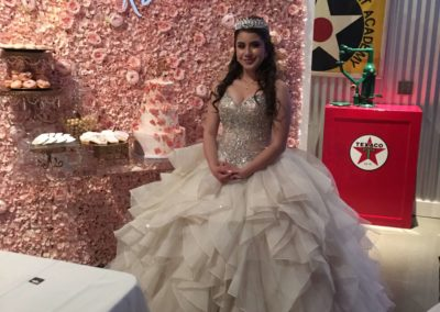 quinceanera event venue with dress and decorations