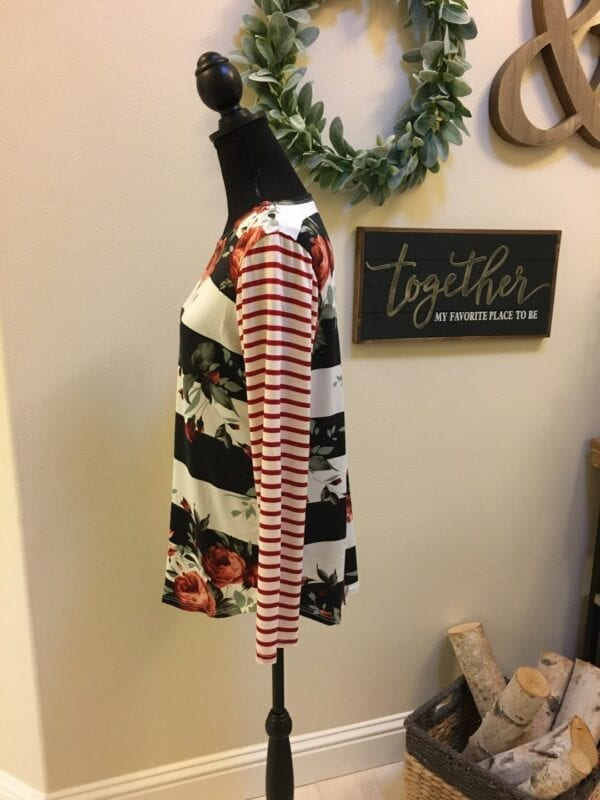 Holly Striped Floral Top.
