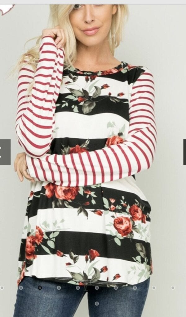 Holly Striped Floral Top.....