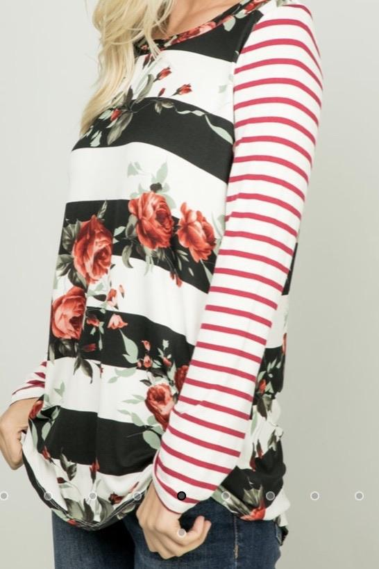 Holly Striped Floral Top......