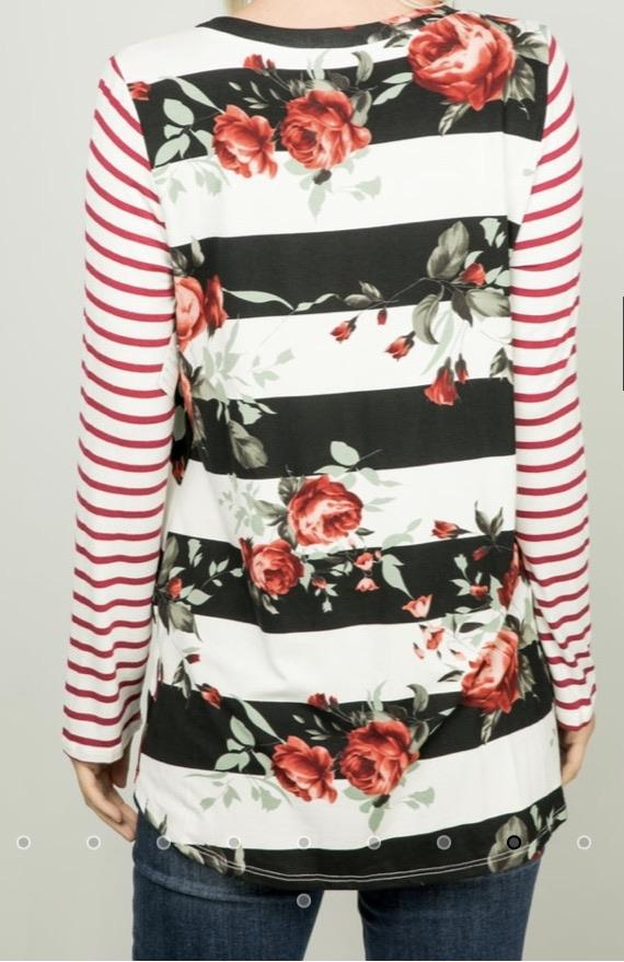 Holly Striped Floral Top....