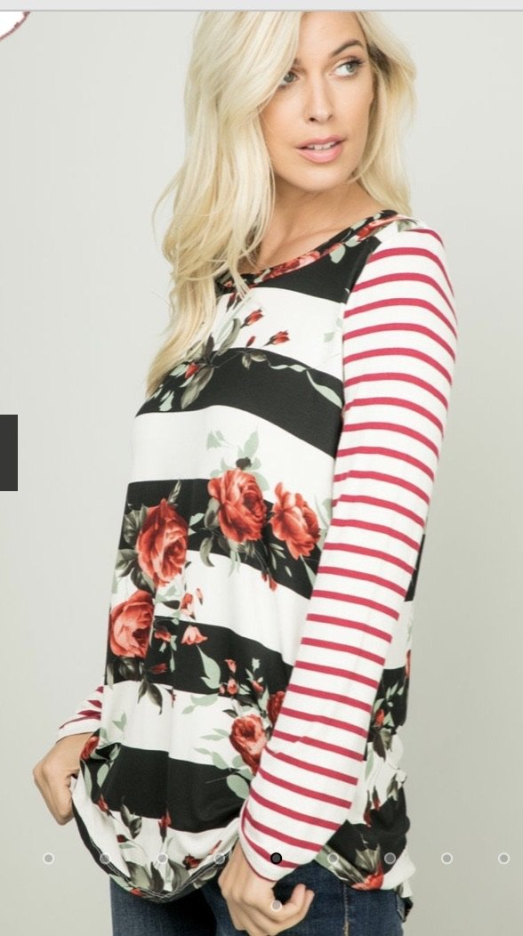Holly Striped Floral Top...