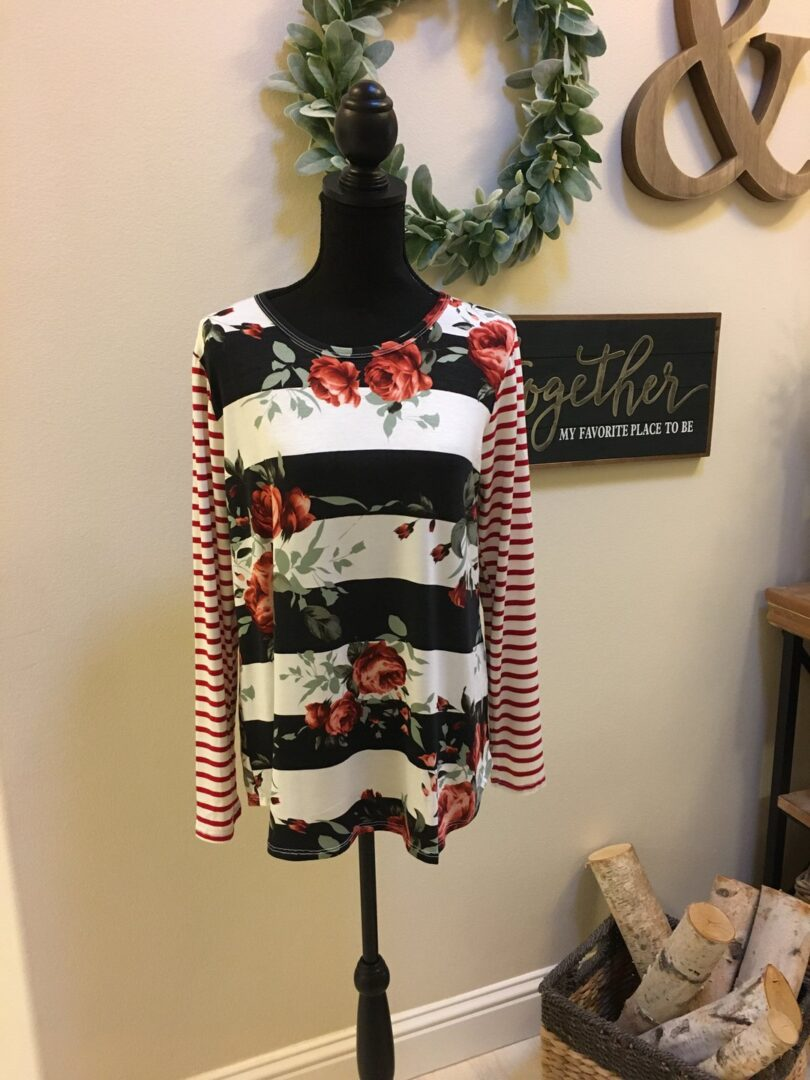 Holly Striped Floral Top