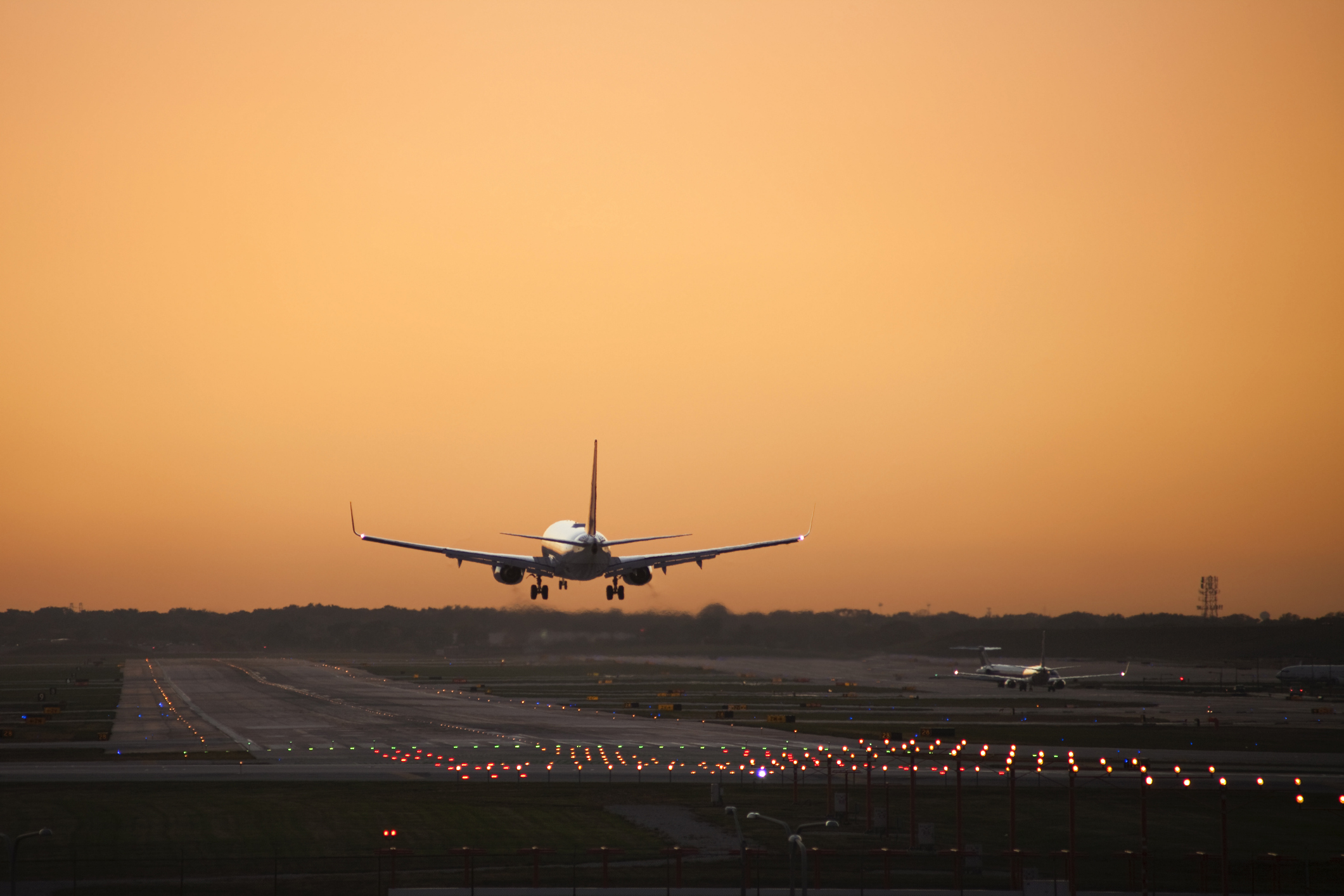 Commercial airplane coming in for a landing