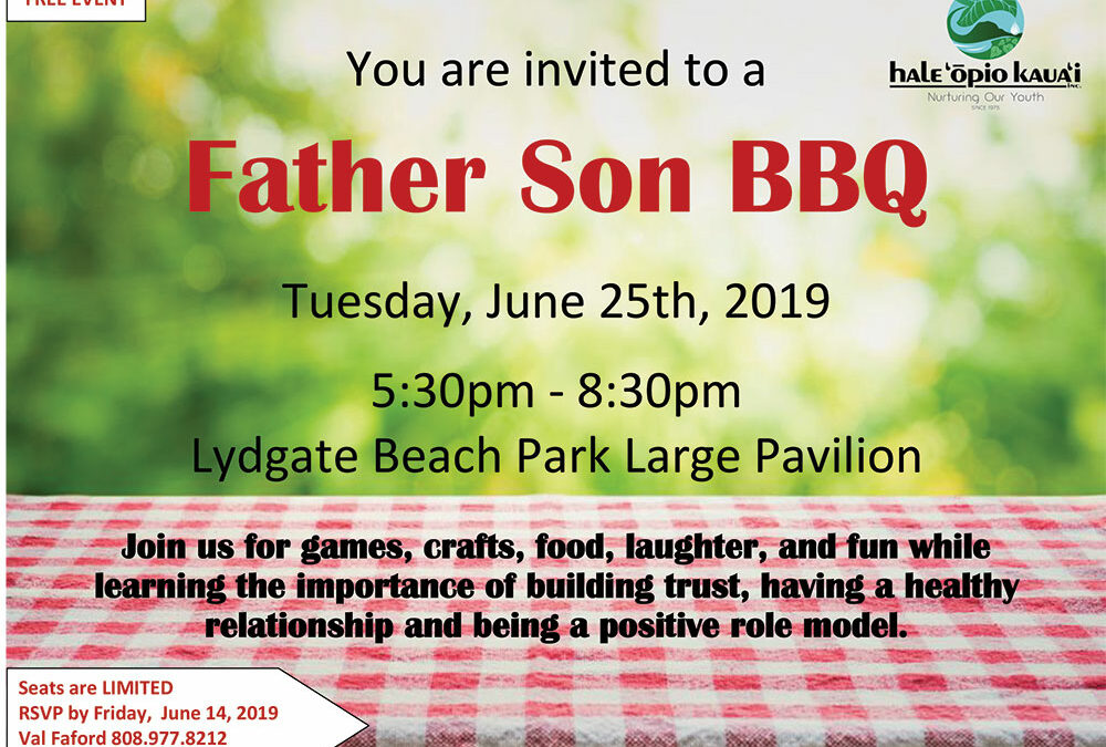 You are invited to a Father Son BBQ