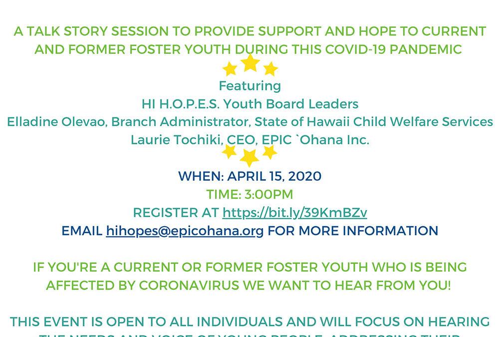 HI H.O.P.E.S. Virtual Town Hall, April 15, 2020