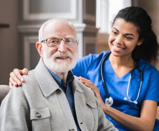 senior man with nurse