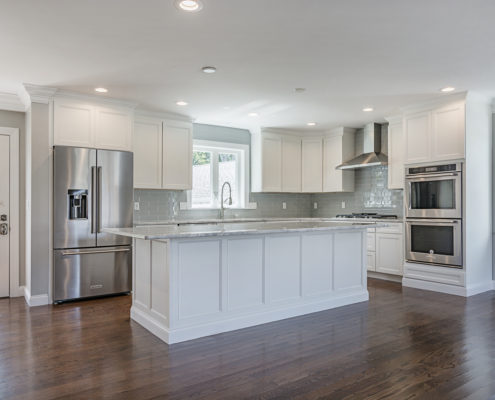 View from dining area overlooking spacious kitchen