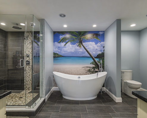 Master bathroom with walk-in shower, peaceful soaking tub and island mural