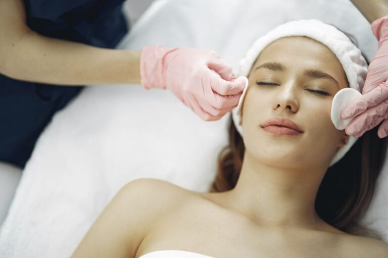 woman getting a chemical peel facial in montreal and laval skincare spa