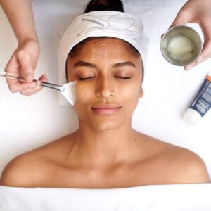 chemical peels in montreal and laval beautiful girl during facial
