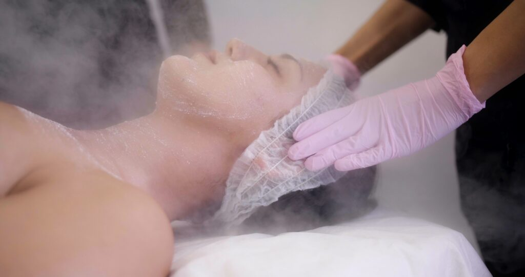 facial steaming during facial treatment at new age spa in montreal