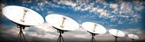 Satellite array against a blue sky