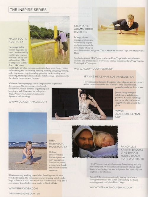 Jeanne is featured in Origin Magazine's July/August 2012 issue on conscious lifestyle. Find Jeanne in the Inspire Series.