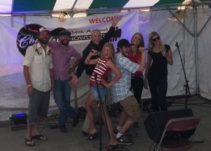 (front) Callie Rounds, Superman, (back) Cody Wayne, James Smith, John Dunn, Nicole Lewis, Meagan Pouch