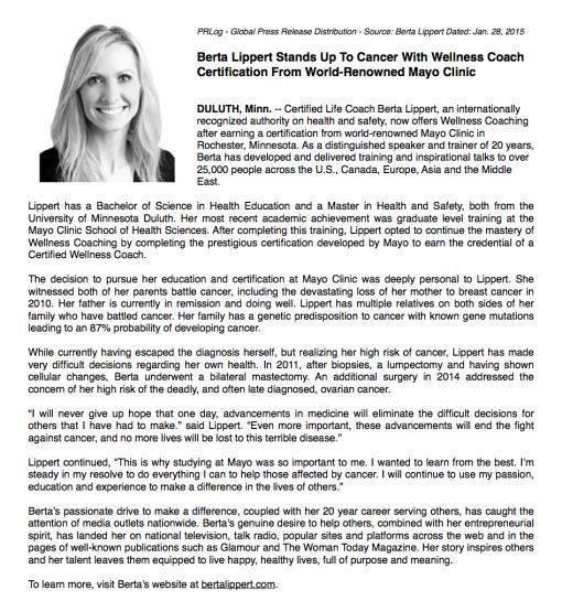 Berta Lippert Press Release Mayo Clinic