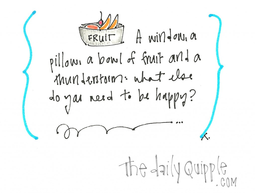 A window, a pillow, a bowl of fruit and a thunderstorm. What else do you need to be happy?