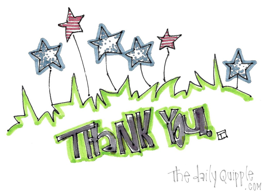 Patriotic stars adorn a message of thanks for the service of Veterans.
