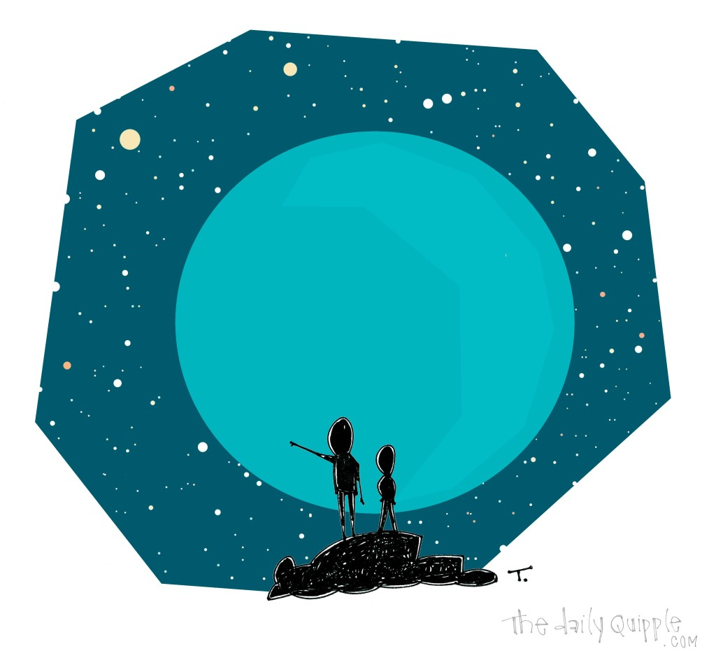 Two people gaze at a beautiful starry sky.