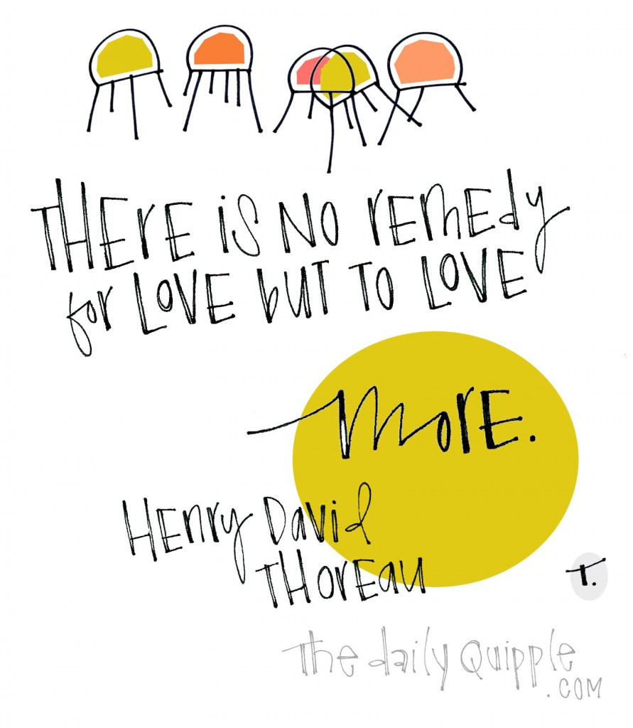 There is no remedy for love but to love more. [Henry David Thoreau]