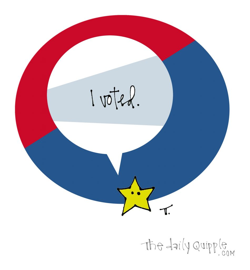 Illustration of a star with words: I voted.