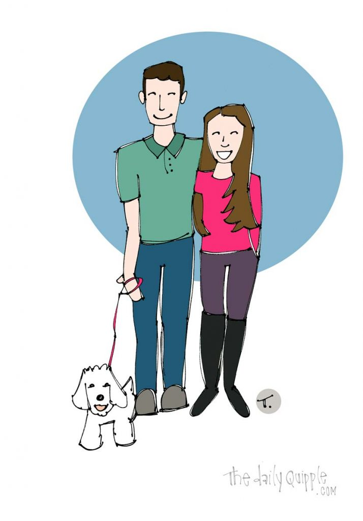 Illustration of two happy people with a small dog.