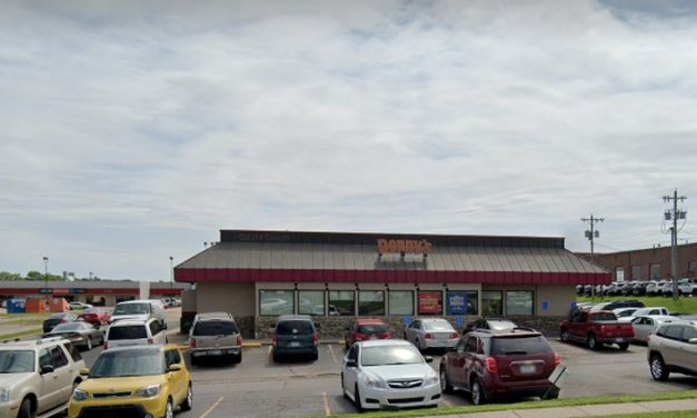 Denny's in Topeka fouls inspection; Containers stored as clean soiled with dried food debris, employee handles dirty dishes then handles clean dishes without washing hands