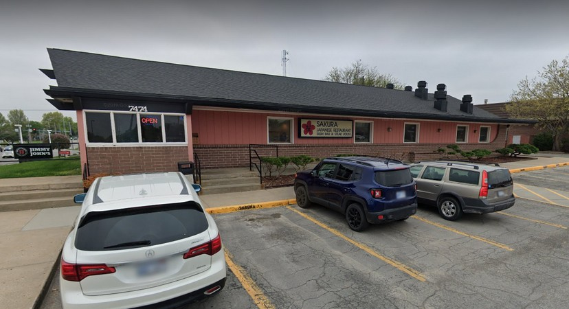 Sakura Japanese Restaurant in Shawnee fumbles inspection; Seagram's 7 liquor with visible winged insects inside, liquid ant bait trap on counter top