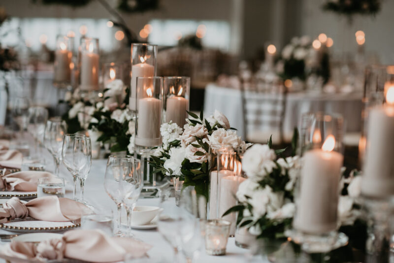 Wedding table decorations and candles.