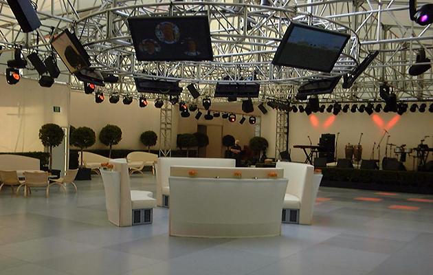 Rigging setup inside a venue.