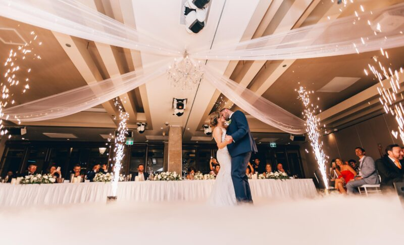 First dance of the newly married couple at their wedding reception.