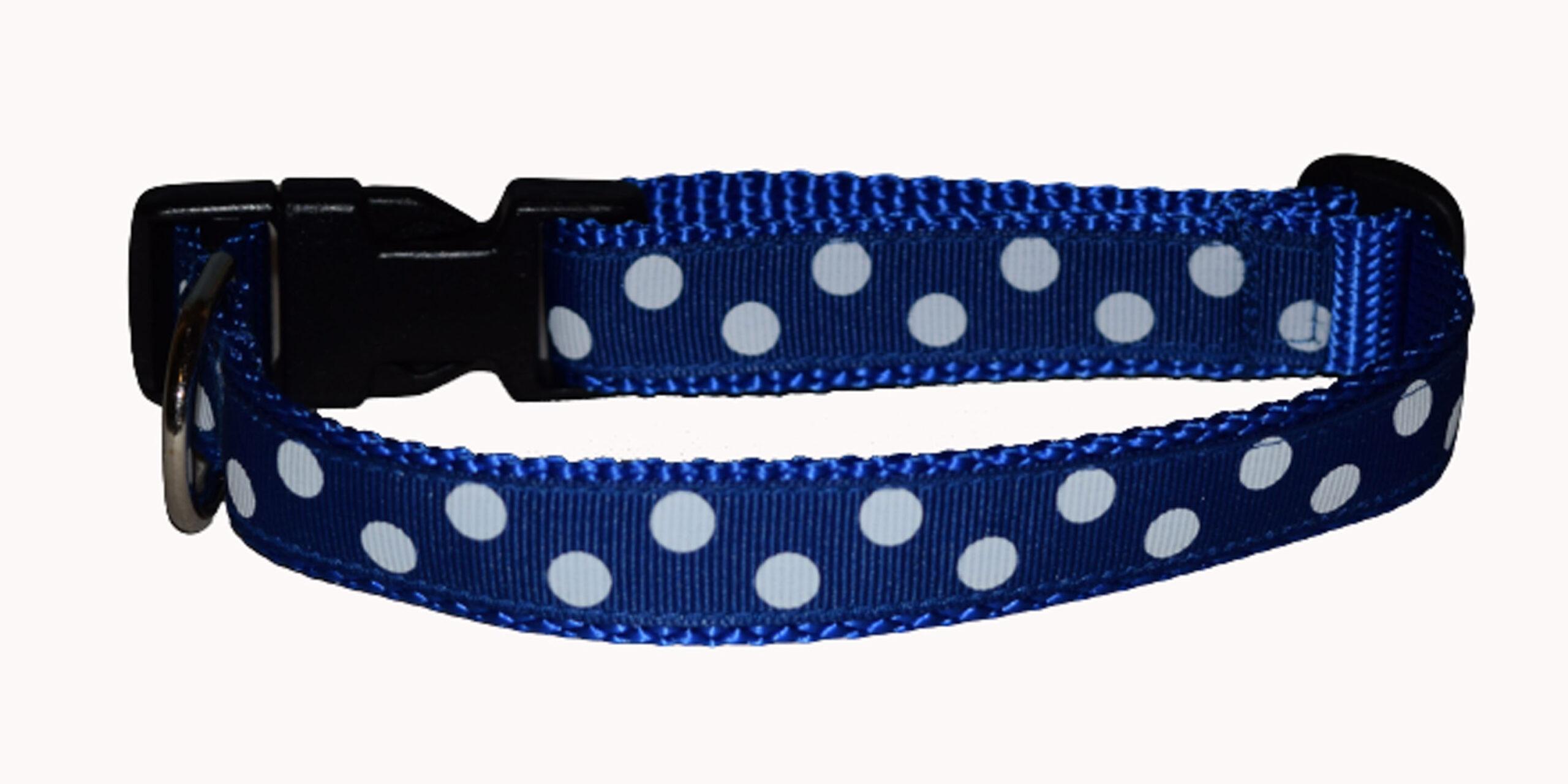 Dots White Blue Dog Collar
