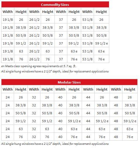 Single Hung Series 110 – Sizes