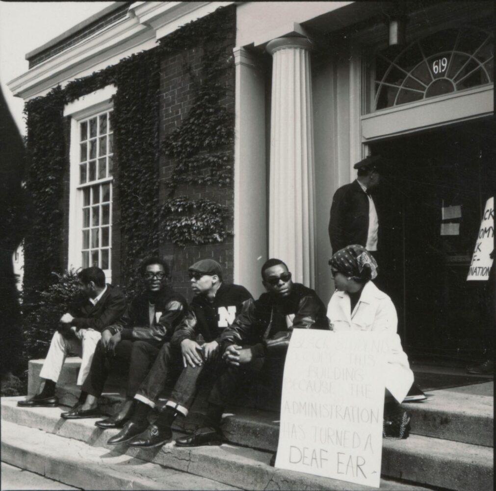 bursars office students on steps