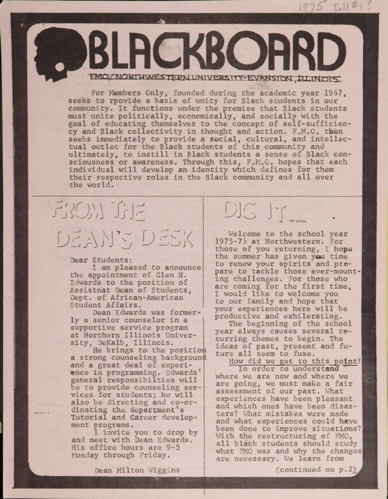 BlackBoard fall 1975