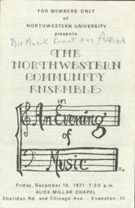NCE first concert flyer An Evening of Music