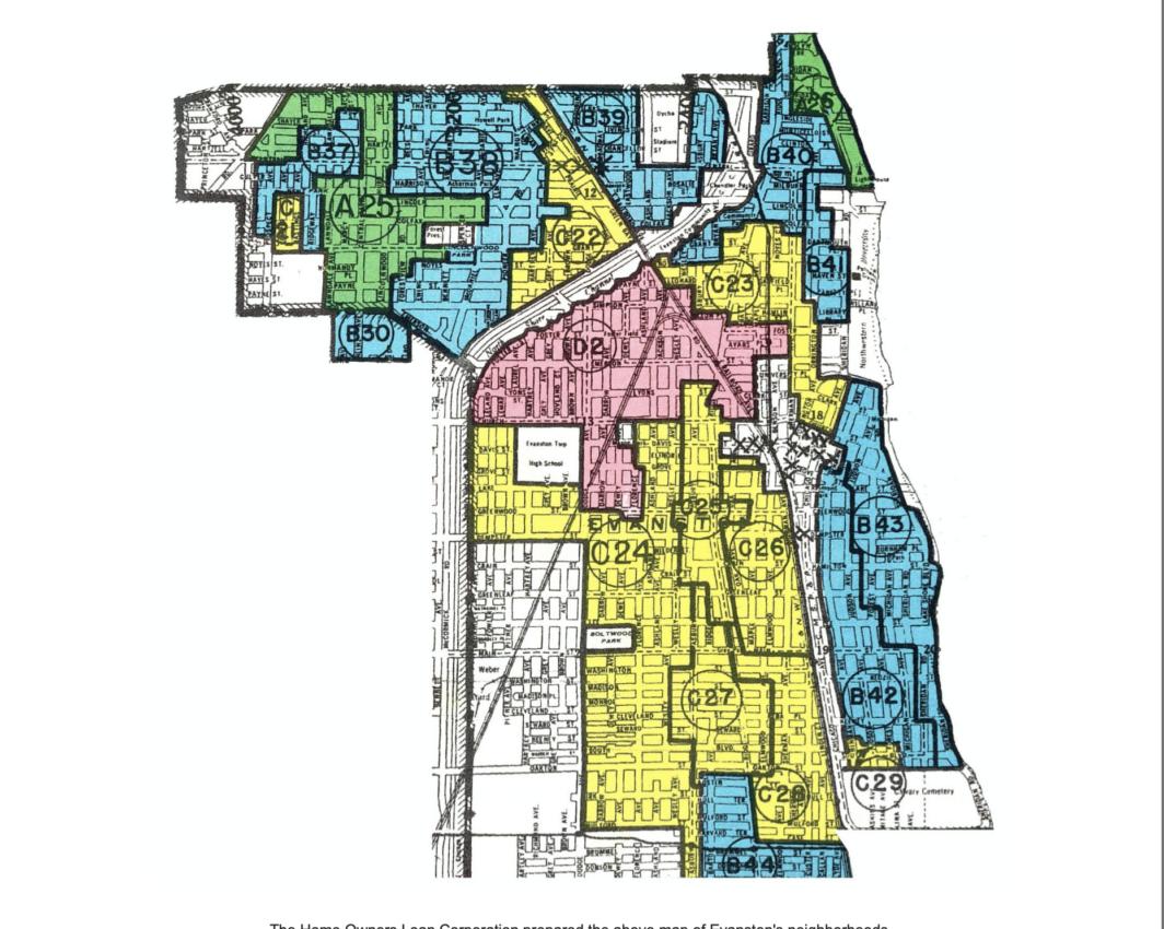 map of segregation in Evanston neighborhoods 1940