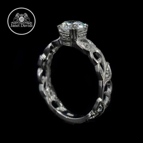 White Gold Diamond Mill Grained Floral