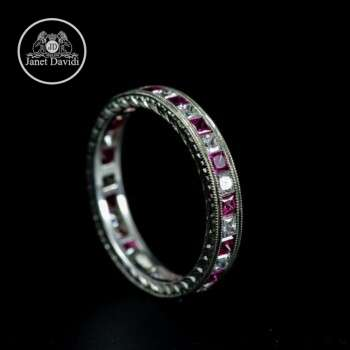 Pink Sapphire and Diamond Engraved