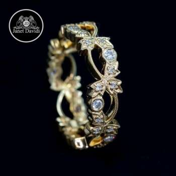 Leaf Diamond Stackable Wedding Ring