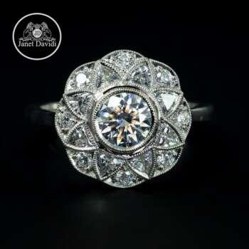 Flower Shape Bezel Engagement Ring