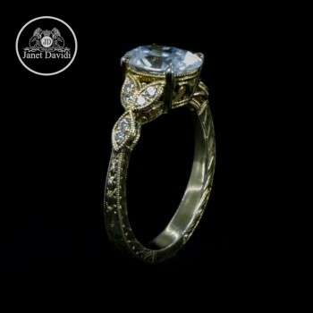 Mill Grained Diamond Engagement Ring
