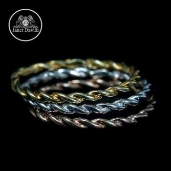 18K Gold Twist Narrow Eternity Band