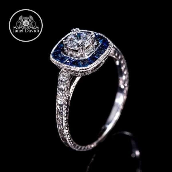 Halo Platinum Blue Sapphire or Ruby