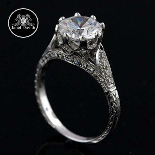 Diamond Milgrained Hand Engraved