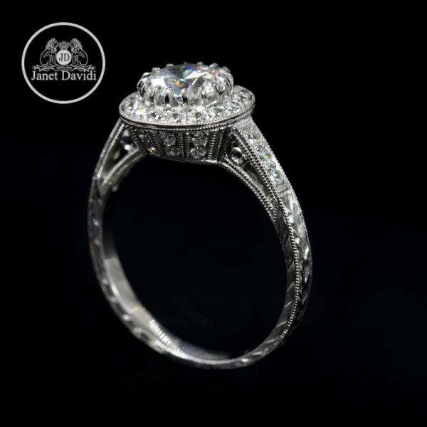 Antique Inspired Halo Engagement Ring