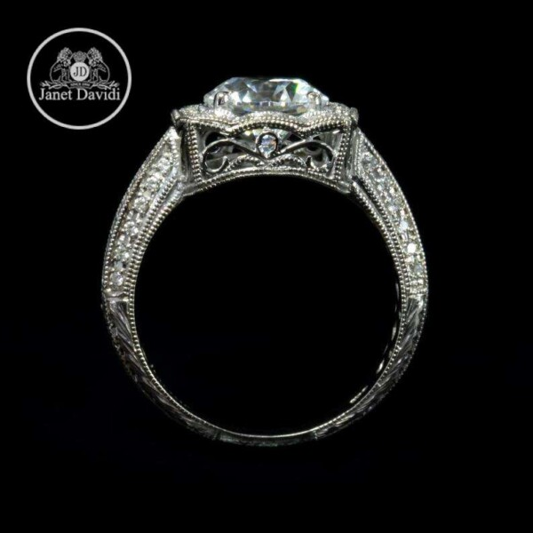 Fine Mill Grained Edges Engagement Ring
