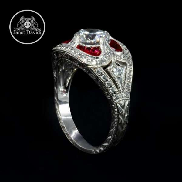 14 K Genuine Ruby and Diamond Milgrain