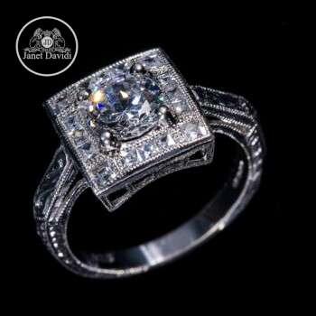 Platinum Diamond Halo Milgrain