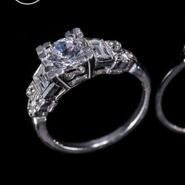 Platinum Natural Diamond Milgrain